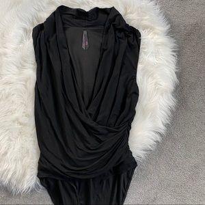 Deep V Black Body Suit